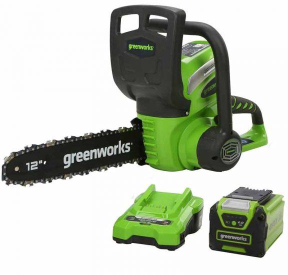Greenworks Motosierra con mango batería G40CS30K2